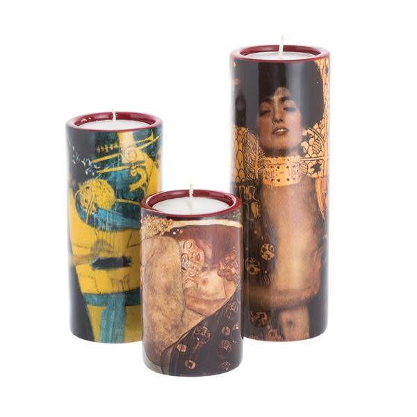 Klimt-Set aus drei keramischen Teelichthaltern