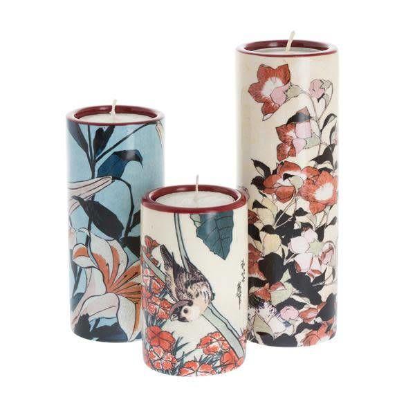Hokusai Set aus drei keramischen Teelichthaltern