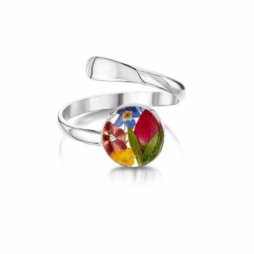 Shrieking Violet Adjustable Ring Mixed Flower  silver 025