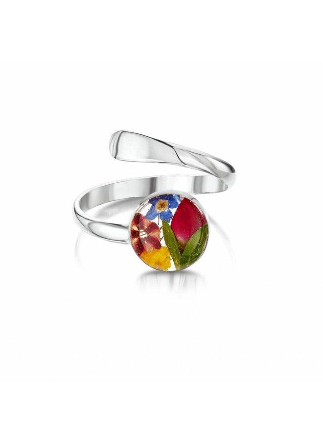 Verstellbarer Ring Mixed Flower Silber 025