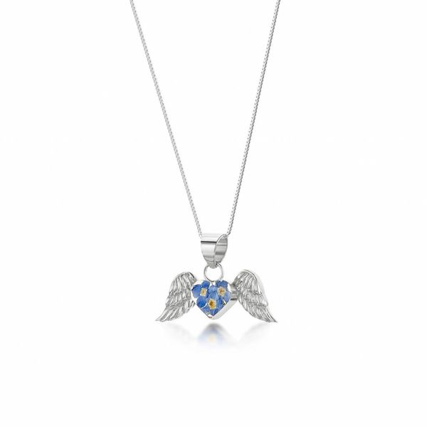Angel wings forget-me-not pendant  silver 023