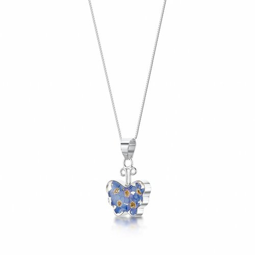 Shrieking Violet Butterfly forget-me-not pendant silver 003