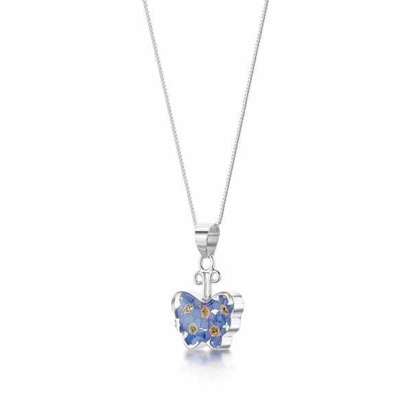 Butterfly forget-me-not pendant silver 003
