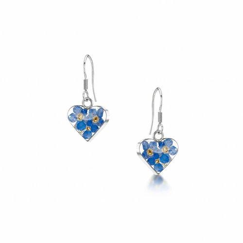 Shrieking Violet Heart Forget-me-not  drop earrings silver 014