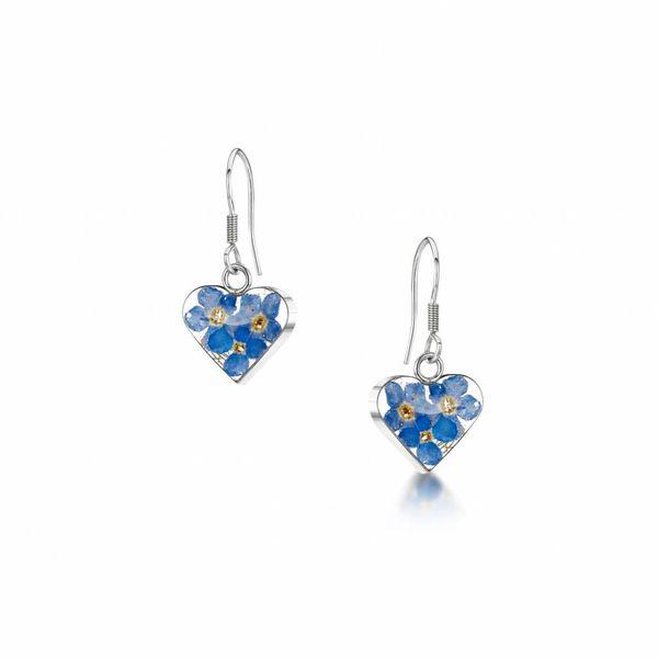 Heart Forget-me-not  drop earrings silver 014