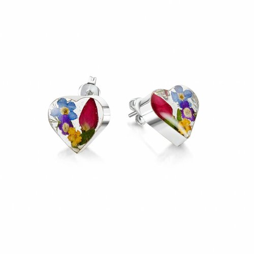 Shrieking Violet Heart mixed flower stud earrings silver 012