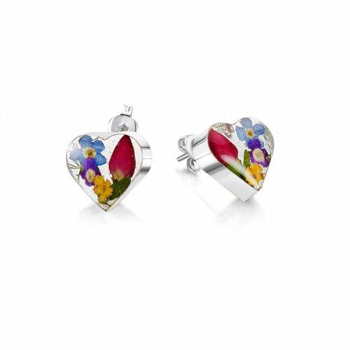 Shrieking Violet Heart mixed flower  + yellow stud earrings silver 012
