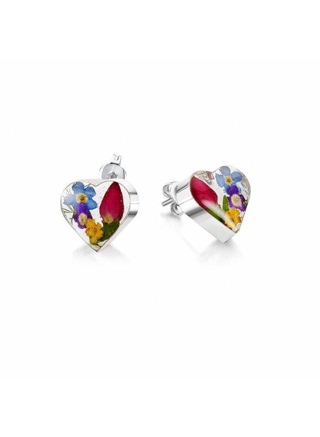 Herz gemischt Blume Ohrstecker Silber 012