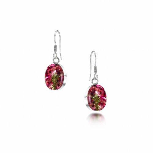 Shrieking Violet Oval Heather drop earrings silver 018