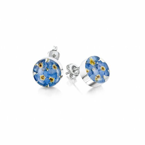 Shrieking Violet Round  Forget-me-not stud earrings silver 021