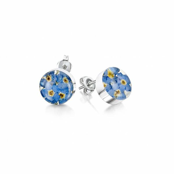 Round  Forget-me-not stud earrings silver 021