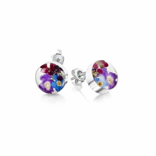 Shrieking Violet Pendientes de botón redondos de color morado púrpura 022