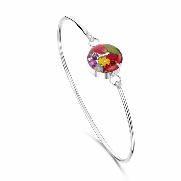 Round Bangle Mixed Flower  silver 026