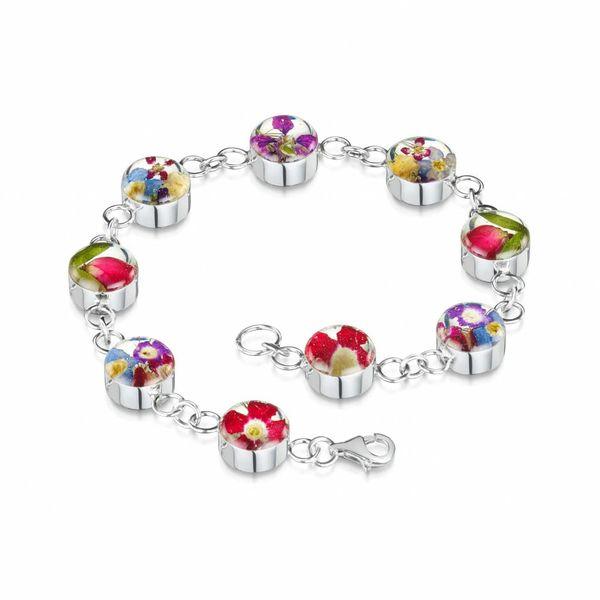 Round bracelet Mixed Flower  silver 027