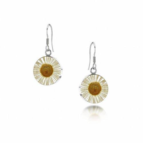Shrieking Violet Round daisy drop earrings silver 013