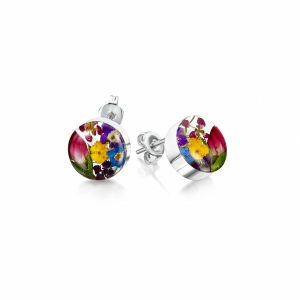 Round mixed flower stud earrings silver 010
