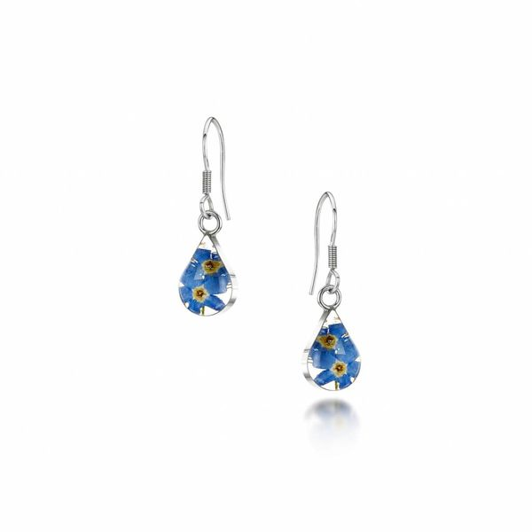Teardrop  Forget-me-not drop earrings silver 020