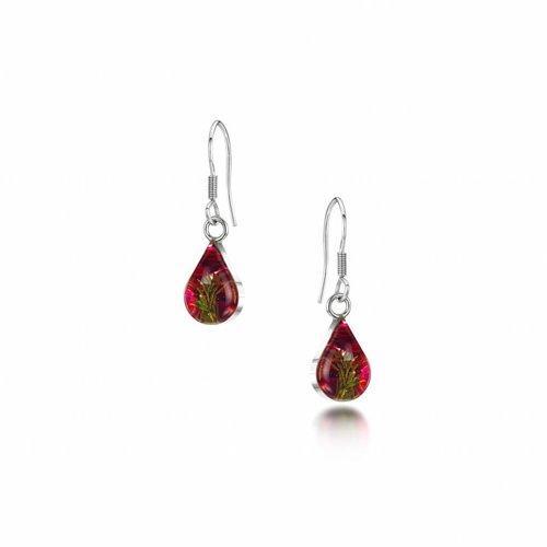Shrieking Violet Teardrop  Heather drop earrings silver 019