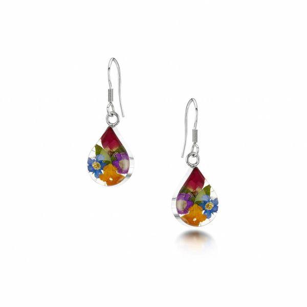 Teardrop mixed flower drop earrings silver 011