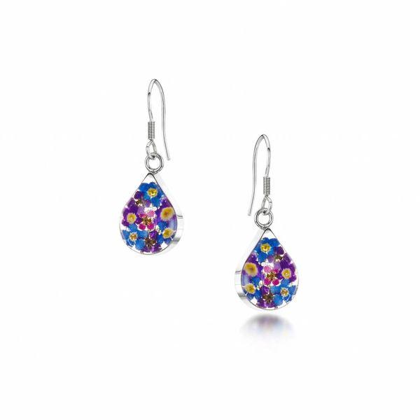 Teardrop purple haze  drop earrings silver 015