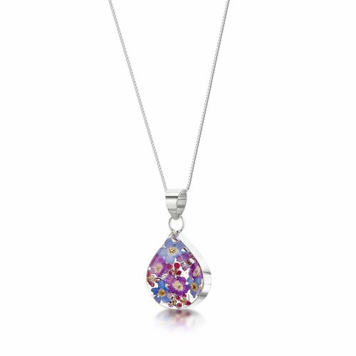 Shrieking Violet Teardrop purple haze pendant silver 016