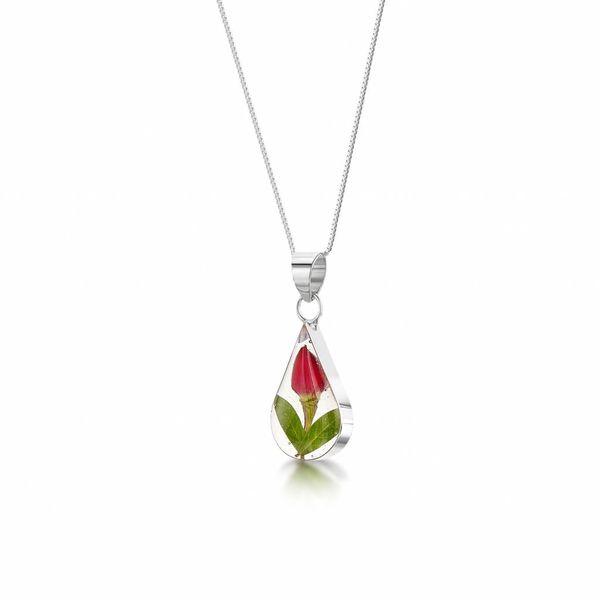 Teardrop Rose Bud pendant silver 008