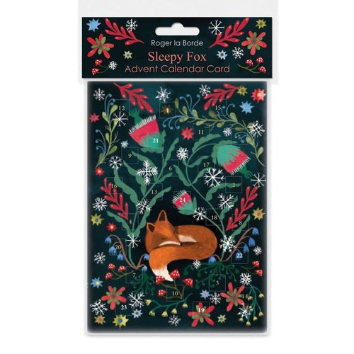 Roger La  Borde Sleepy Fox Advent Calendar Card