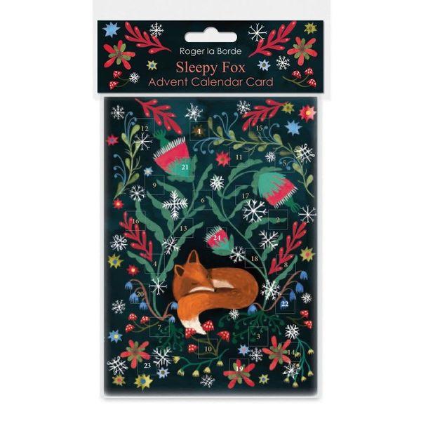 Sleepy Fox Advent Calendar Card