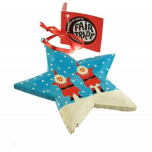 New Overseas Traders Santas en la nieve Estrella Decoración 10cm 04