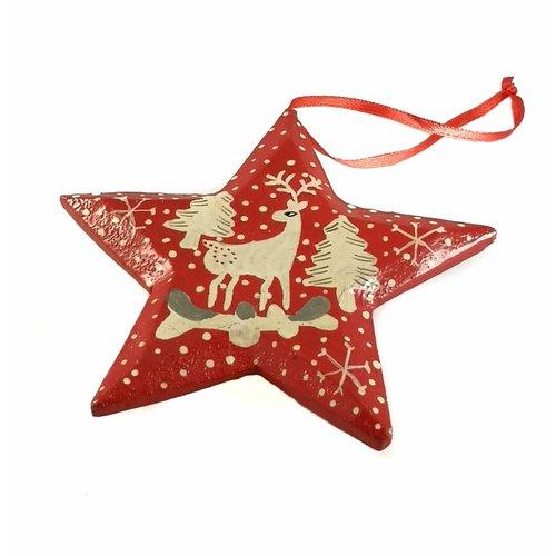 New Overseas Traders Schnee und Sterne Stern Deko 10cm 10