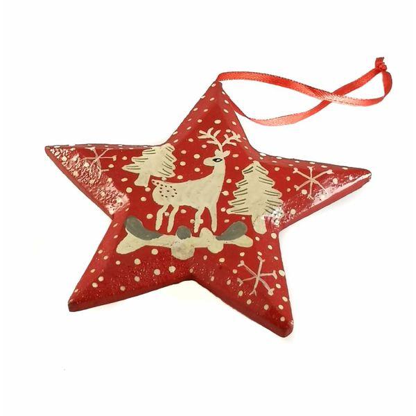 Snow and Stars Star Decoration 10cm 10