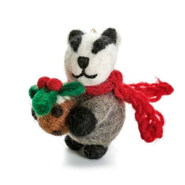 Badger with Christmas Pudding  Felt Decoration 121