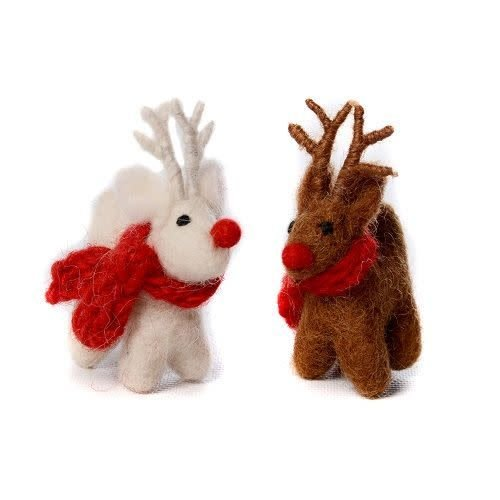 Amica Accessories Brown Standing Reindeer Felt Decoration 06