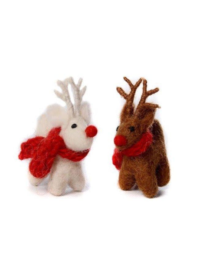 Brown Standing Reindeer Felt Decoration 06