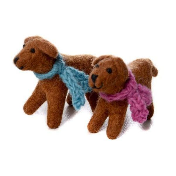 Chocolate Labrador Toy Pink scarf  Felt 119