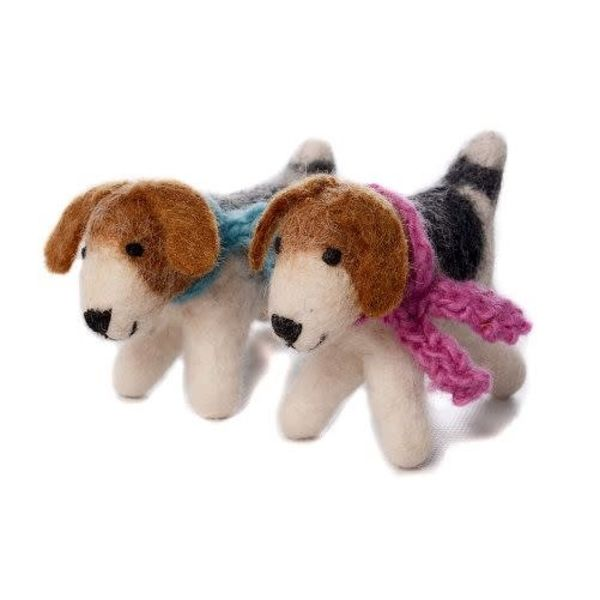 Fox Terrier Pink scarf Toy Felt 116