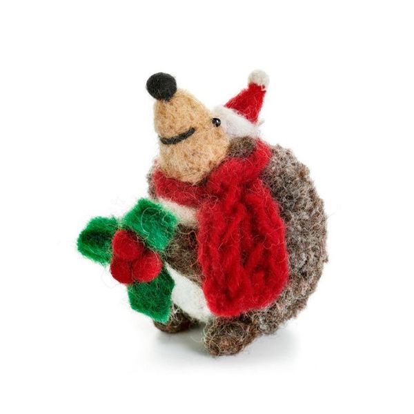 Hedgehog with Holy  Felt Decoration 122