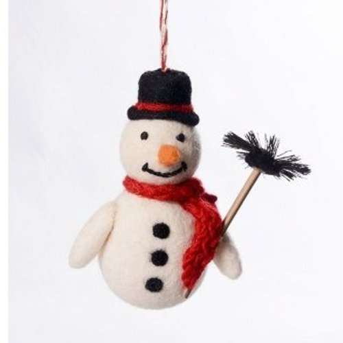 Amica Accessories Snowman Chimney Sweep Felt Decoration 1126