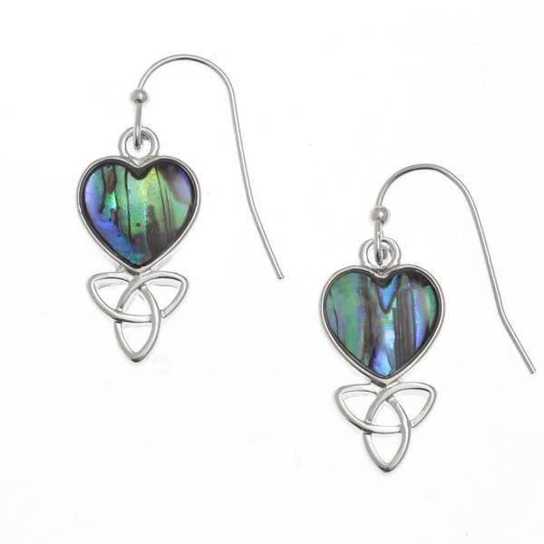 Celtic heart inlay paua shell drop earrings 115E