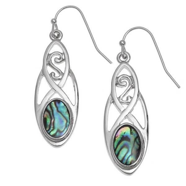 Celtic long paua shell  drop earrings 120E