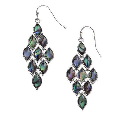 Tide Jewellery Pendientes colgantes de concha de paua de diamantes 119E