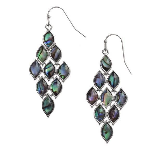 Diamond paua shell  drop earrings 119E