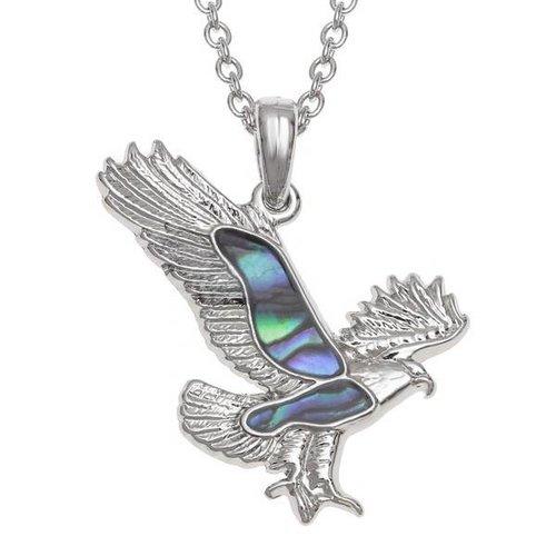 Tide Jewellery Collar de concha de Paua con incrustaciones de águila 110P