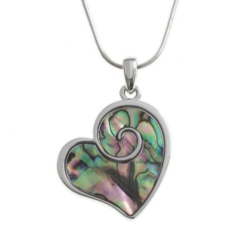 Tide Jewellery Heart Swirl Paua shell  necklace 93