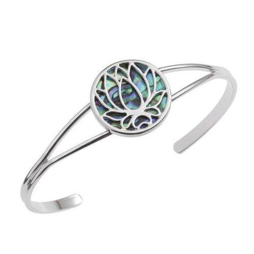 Tide Jewellery Brazalete de concha de paua de flor de loto 121B