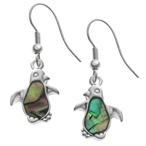 Penguin drop inlay paua shell earrings 117E