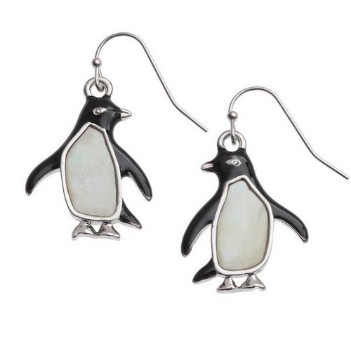 Tide Jewellery Pendientes de concha de nácar grande con incrustaciones de pingüino 118E