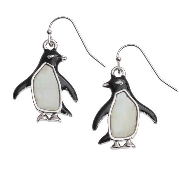 Penguin large drop inlay mother of pearl shell earrings 118E