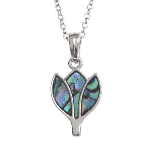 Tide Jewellery Tulip pavo real con incrustaciones de collar de concha Paua 114P