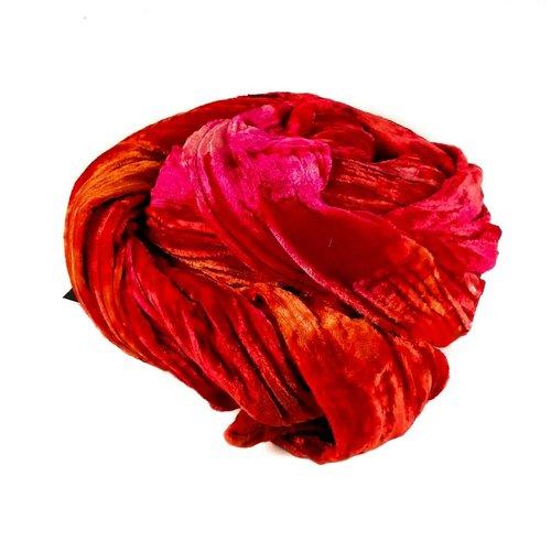 Lady Crow Silks Fire multi dyed Double Velvet scarf 082